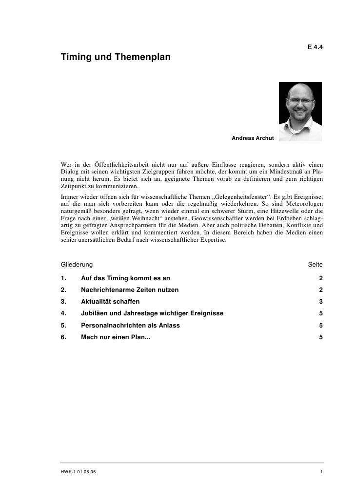 E 4.4 Timing und Themenplan                                                                   Andreas Archut    Wer in der...