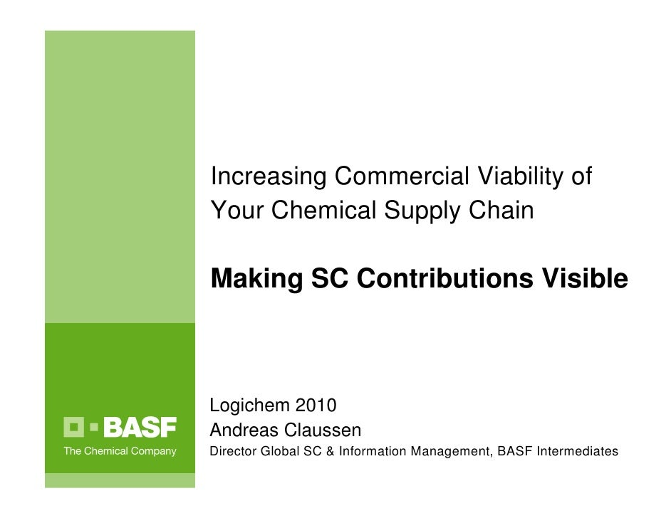 Increasing Commercial Viability ofYour Chemical Supply ChainMaking SC Contributions VisibleLogichem 2010Andreas ClaussenDi...