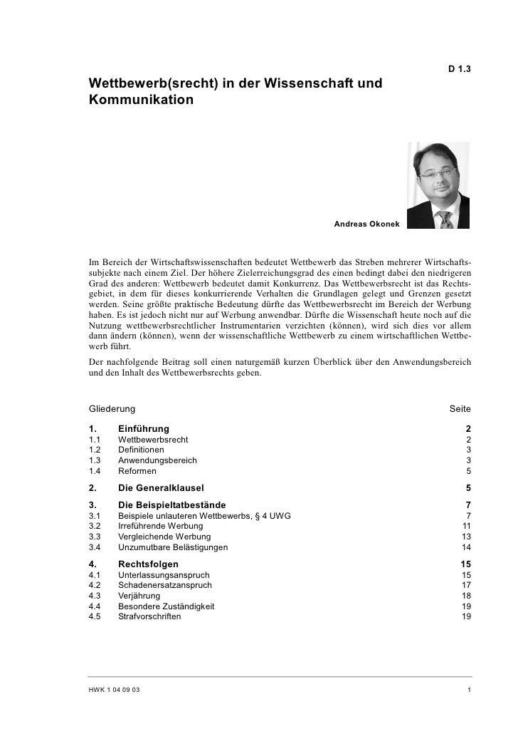 D 1.3 Wettbewerb(srecht) in der Wissenschaft und Kommunikation                                                            ...