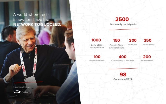 A world where tech innovators have the NETWORK TO SUCCEED. Hermann Hauser 2500 Invite only participants 98 Countries (2015...
