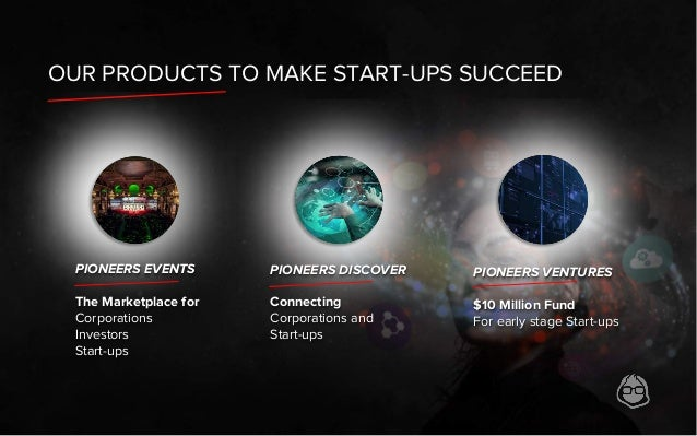PIONEERS DISCOVER Connecting Corporations and Start-ups OUR PRODUCTS TO MAKE START-UPS SUCCEED PIONEERS EVENTS The Marketp...