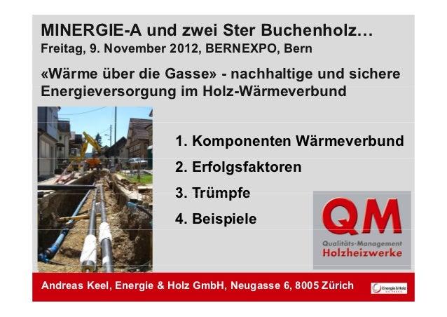 MINERGIE-A und zwei Ster Buchenholz…Freitag, 9Freitag 9. November 2012, BERNEXPO, Bern                    2012 BERNEXPO«Wä...