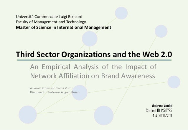 Third Sector Organizations and the Web 2.0 An Empirical Analysis of the Impact of Network Affiliation on Brand Awareness U...