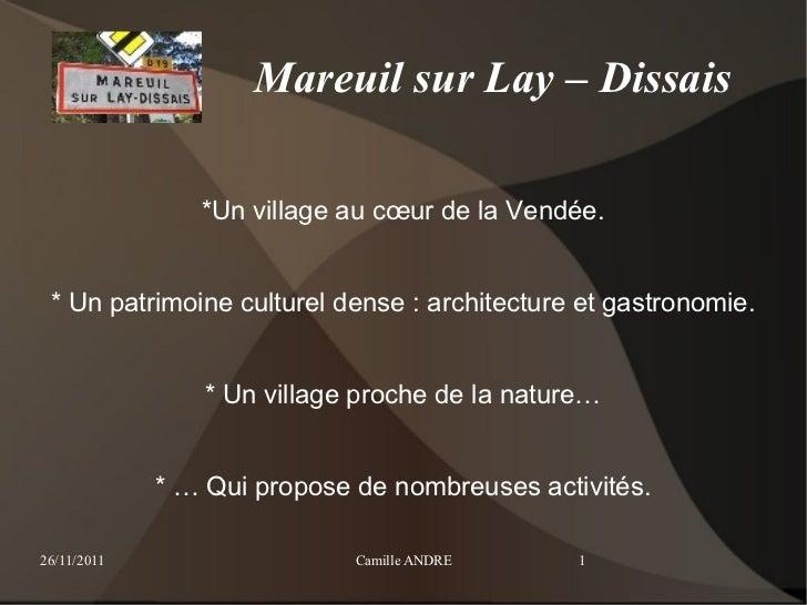 Mareuil sur Lay – Dissais                *Un village au cœur de la Vendée. * Un patrimoine culturel dense : architecture e...