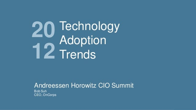 20 12  Technology Adoption Trends  Andreessen Horowitz CIO Summit Bob Suh CEO, OnCorps