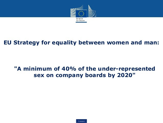 "Transport EU Strategy for equality between women and man: ""A minimum of 40% of the under-represented sex on company boards..."