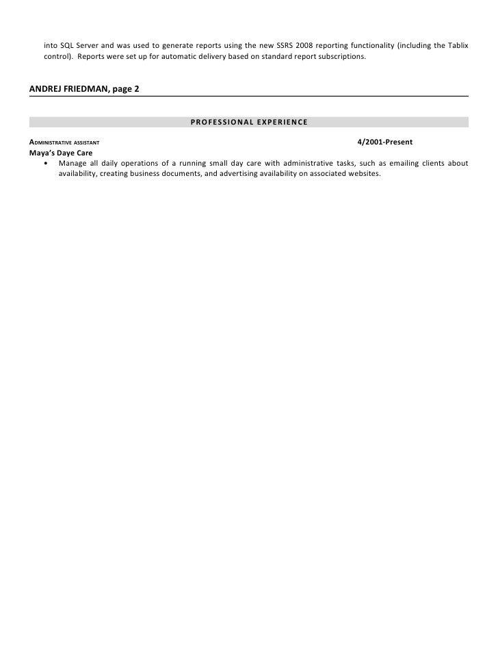 andrej friedman sql developer resume