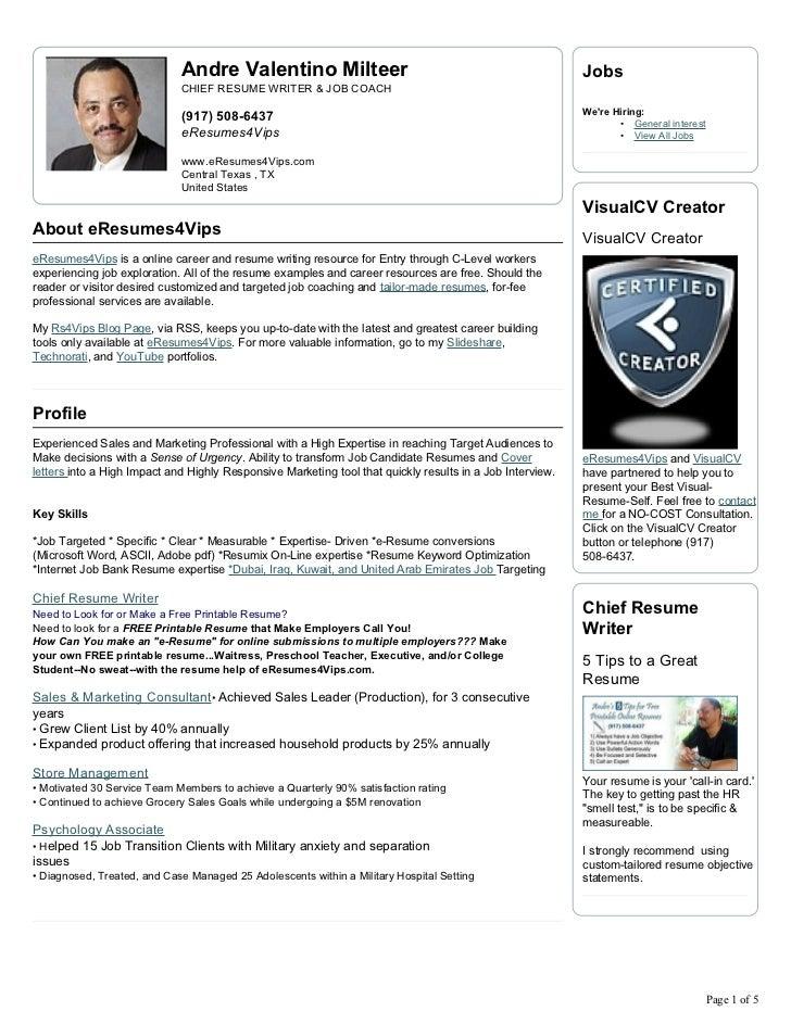 Andre Milteer Visual Cv Resume. Andre Valentino Milteer ...  Visual Cv Resume
