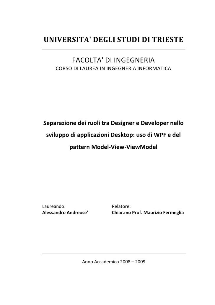 UNIVERSITA' DEGLI STUDI DI TRIESTE               FACOLTA' DI INGEGNERIA      CORSO DI LAUREA IN INGEGNERIA INFORMATICA    ...