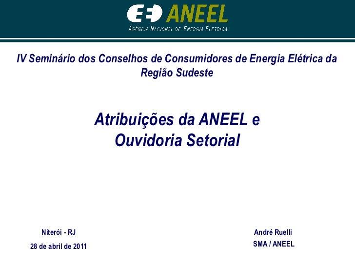 IV Seminário dos Conselhos de Consumidores de Energia Elétrica da                         Região Sudeste                  ...