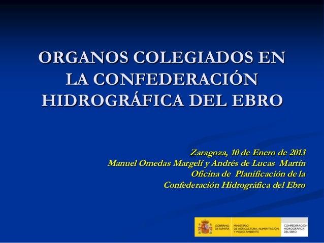ORGANOS COLEGIADOS EN  LA CONFEDERACIÓNHIDROGRÁFICA DEL EBRO                      Zaragoza, 10 de Enero de 2013     Manuel...