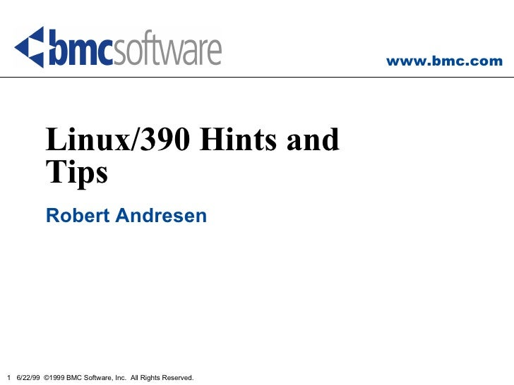 Linux/390 Hints and Tips Robert Andresen