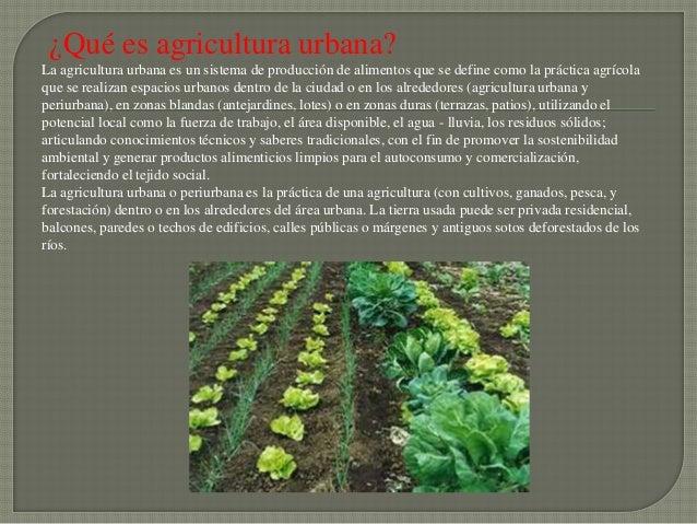 ¿Qué es agricultura urbana?La agricultura urbana es un sistema de producción de alimentos que se define como la práctica a...