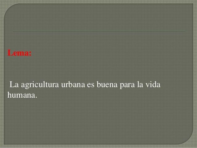 Lema:La agricultura urbana es buena para la vidahumana.