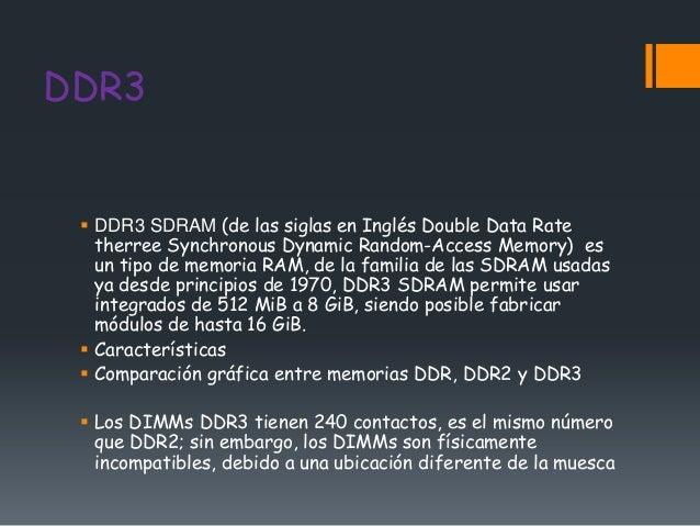 DDR3  DDR3 SDRAM (de las siglas en Inglés Double Data Rate   therree Synchronous Dynamic Random-Access Memory) es   un ti...