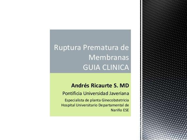 Andrés Ricaurte S. MD Pontificia Universidad Javeriana Especialista de planta Ginecobstetricia Hospital Universitario Depa...