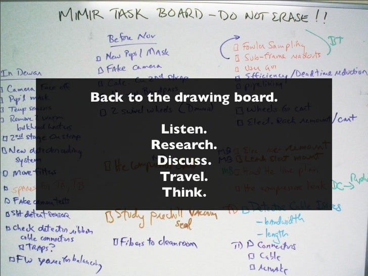 Back to the drawing board.         Listen.        Research.         Discuss.         Travel.         Think.