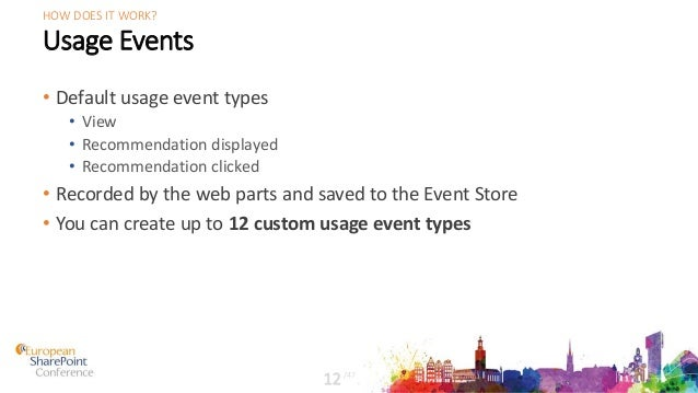 Usage Events • Default usage event types • View • Recommendation displayed • Recommendation clicked • Recorded by the web ...