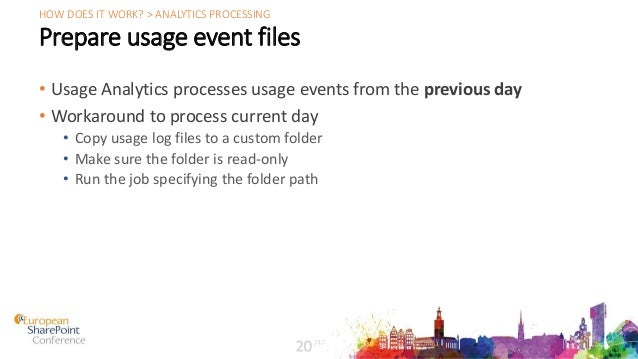 Prepare usage event files • Usage Analytics processes usage events from the previous day • Workaround to process current d...