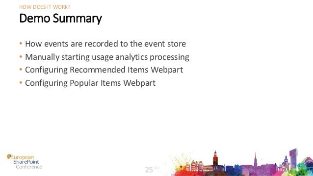 Demo Summary • How events are recorded to the event store • Manually starting usage analytics processing • Configuring Rec...