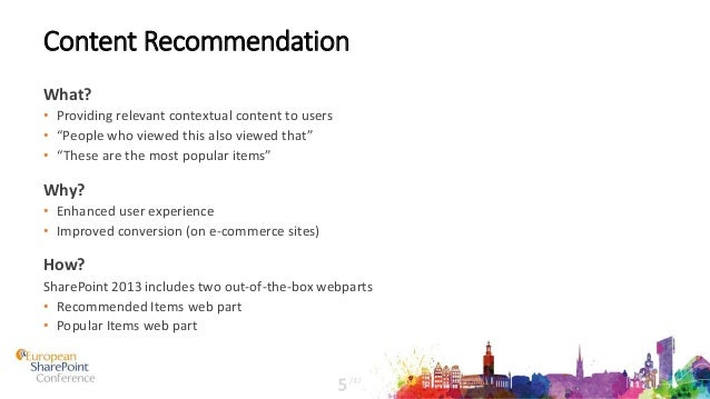 """Content Recommendation What? • Providing relevant contextual content to users • """"People who viewed this also viewed that"""" ..."""