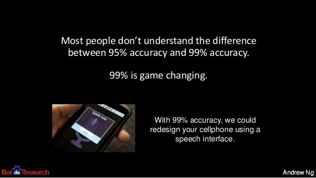 Andrew NgAndrew Ng With 99% accuracy, we could redesign your cellphone using a speech interface. Most people don't underst...