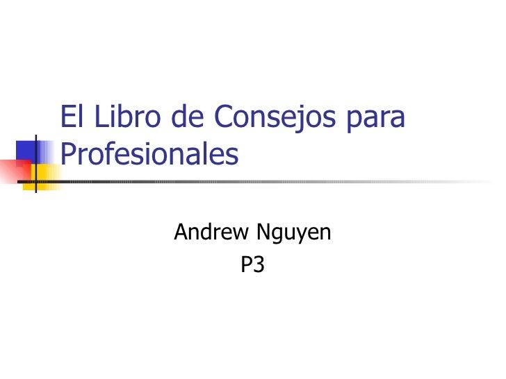 El Libro de Consejos para Profesionales Andrew Nguyen P3