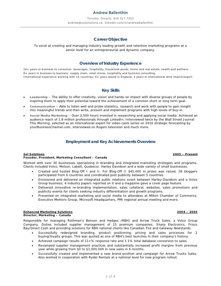 Andrew Ballenthin Marketing Amp Social Media Resume