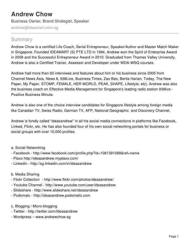 Beautiful Andrew Chow Business Owner, Brand Strategist, Speaker  Andrew@ideamart.com.sg ... On Brand Strategist Resume