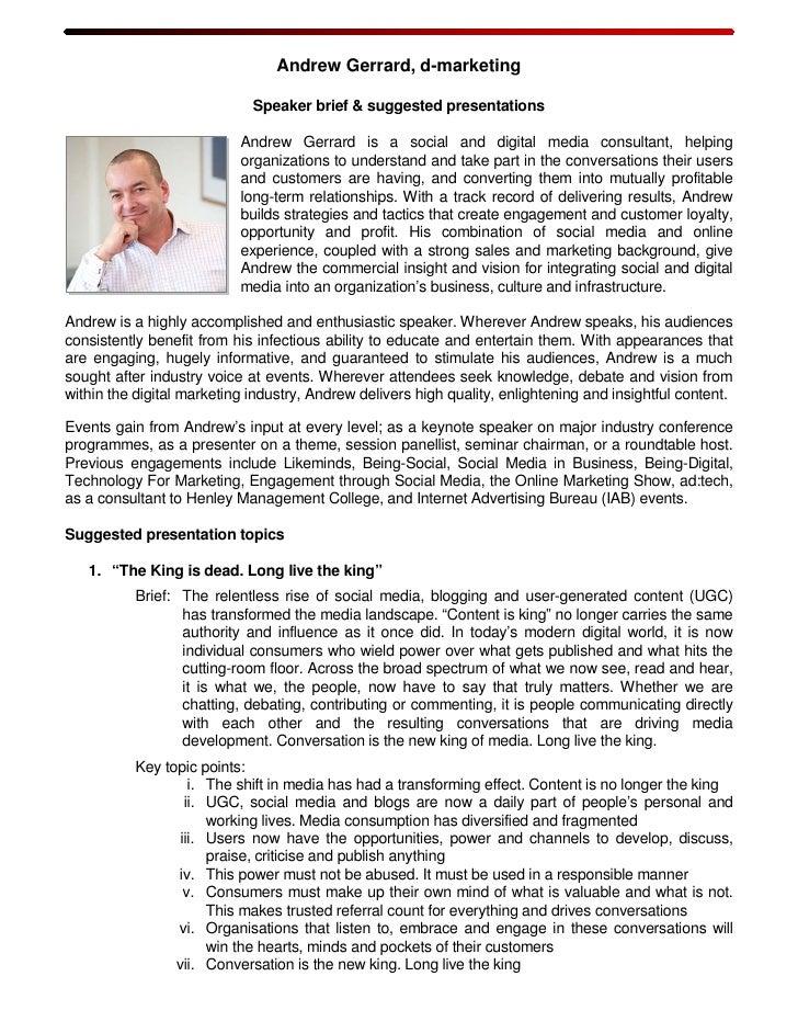 Andrew Gerrard, d-marketing                               Speaker brief & suggested presentations                         ...