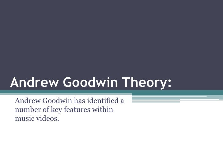 Andrew Goodwin Theory:Andrew Goodwin has identified anumber of key features withinmusic videos.