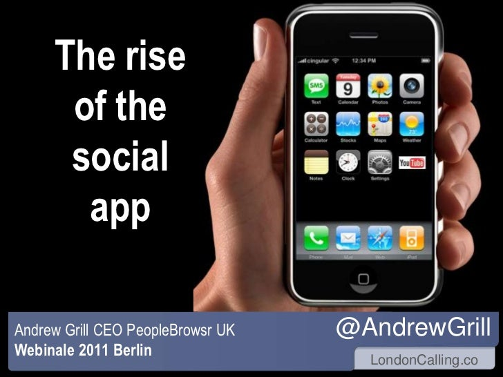 The rise of the socialapp<br />@AndrewGrill<br />Andrew Grill CEO PeopleBrowsr UK<br />Webinale 2011 Berlin<br />