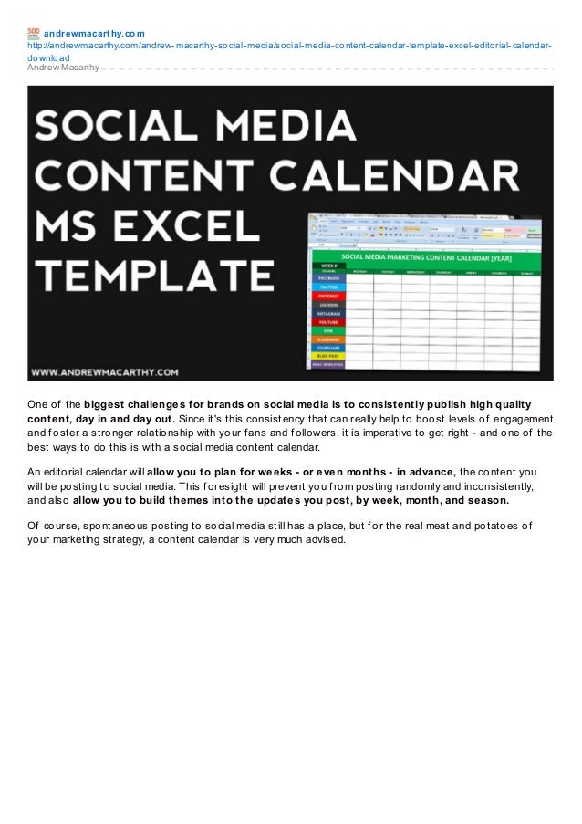 Social Media Content Calendar Template Excel | Marketing Editorial Ca…
