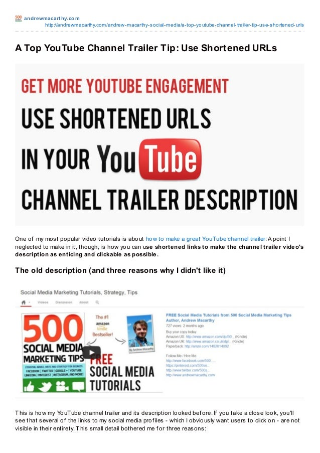 A Top YouTube Channel Trailer Tip: Use Shortened URLs