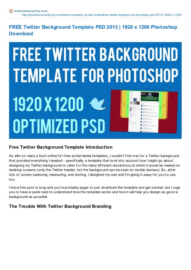 Free twitter background template psd 2013 1920 x 1200 photoshop dow andrewmacart hy httpandrewmacarthyandrew macarthy twitter prof ile backgrounds maxwellsz