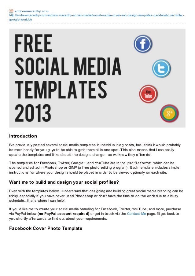 Social media templates 2013 free psd facebook twitter for Social media templates free