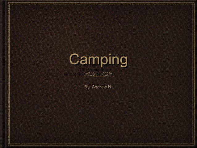 Camping  QuickTime™ and a GIF decompressor are needed to see this picture. By: Andrew N.