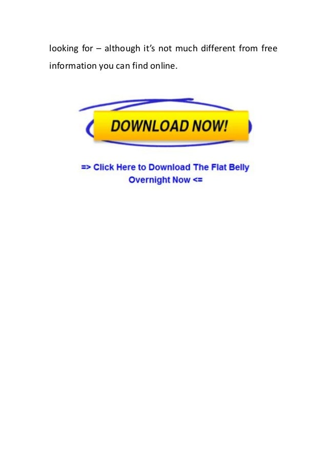 Flat belly overnight book free download