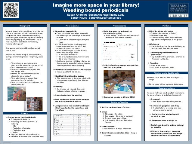 TEMPLATE DESIGN © 2008www.PosterPresentations.comImagine more space in your library!Weeding bound periodicalsSusan Andrews...
