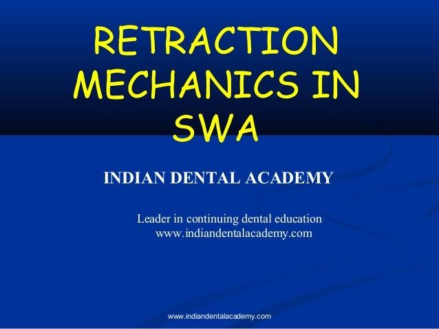 RETRACTION MECHANICS IN SWA INDIAN DENTAL ACADEMY Leader in continuing dental education www.indiandentalacademy.com  www.i...