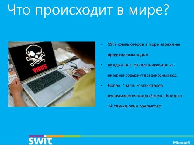 Что происходит в мире? •  39% компьютеров в мире заражены вредоносным кодом  •  Каждый 14-й файл скачиваемый из интернет с...