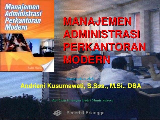 Manajemen Administrasi Perkantoran Modern Ebook