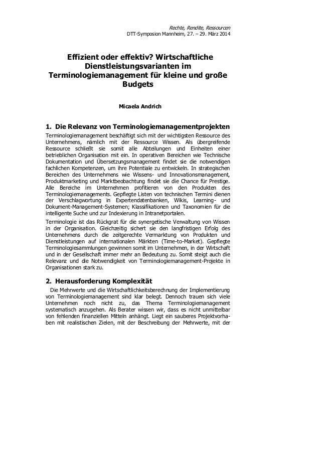 Rechte, Rendite, Ressourcen DTT-Symposion Mannheim, 27. – 29. März 2014 Effizient oder effektiv? Wirtschaftliche Dienstlei...