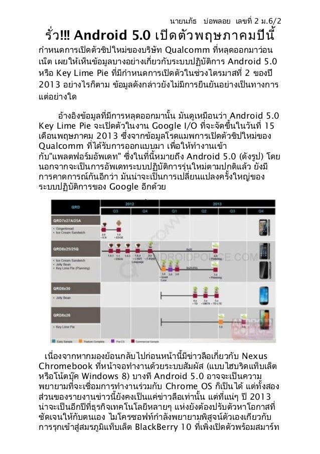 นายนภัธ บ่อพลอย เลขที่ 2 ม.6/2 รั่ว !!! Android 5.0 เปิด ตัว พฤษภาคมปีน ี้กำาหนดการเปิดตัวชิปใหม่ของบริษัท Qualcomm ที่หลุ...
