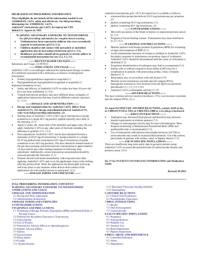HIGHLIGHTS OF PRESCRIBING INFORMATION These highlights do not include all the information needed to use ANDROGEL 1.62% saf...