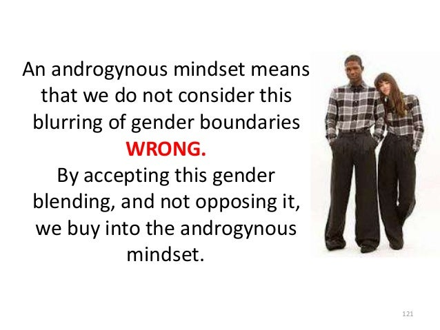 An androgynous mindset means that we do not consider this blurring of gender boundaries WRONG. By accepting this gender bl...