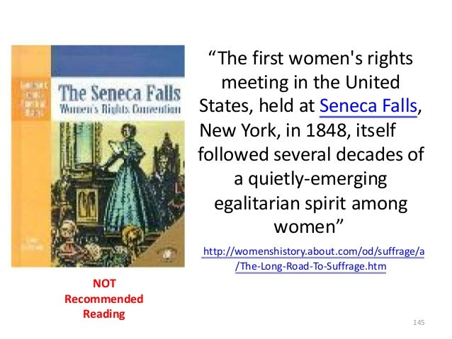 """""""The first women's rights meeting in the United States, held at Seneca Falls, New York, in 1848, itself followed several d..."""