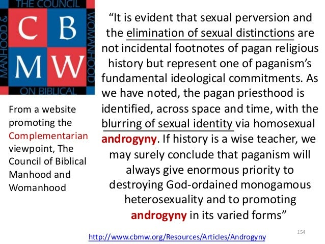 """From a website promoting the Complementarian viewpoint, The Council of Biblical Manhood and Womanhood  """"It is evident that..."""