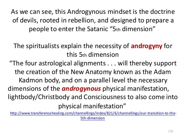As we can see, this Androgynous mindset is the doctrine of devils, rooted in rebellion, and designed to prepare a people t...