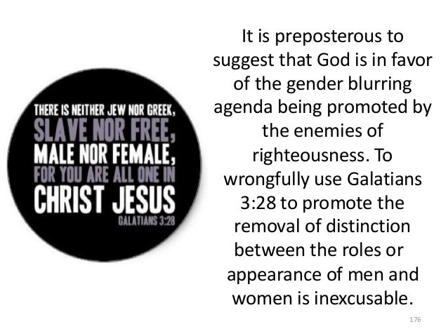 It is preposterous to suggest that God is in favor of the gender blurring agenda being promoted by the enemies of righteou...